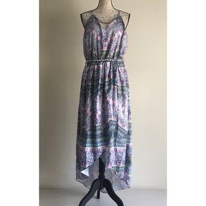 {City Chic} Hi-Low Patterned Boho Belted Dress